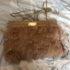 3/$30 ASOS pink feather clutch